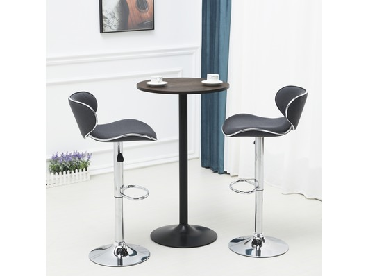 Set Of 2 Shoreditch Fabric Bar Stools Height Adjustable Dark Grey
