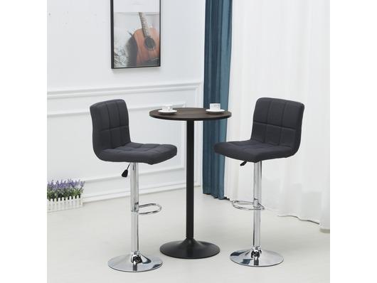 Set Of 2 Windsor Fabric Bar Stools Height Adjustable Dark Grey
