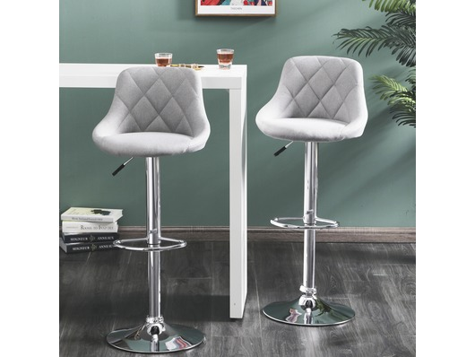 Set Of 2 Mayfair Fabric Bar Stools Height Adjustable Light Grey