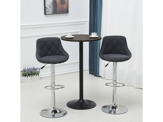 Set Of 2 Mayfair Fabric Bar Stools Height Adjustable Dark Grey