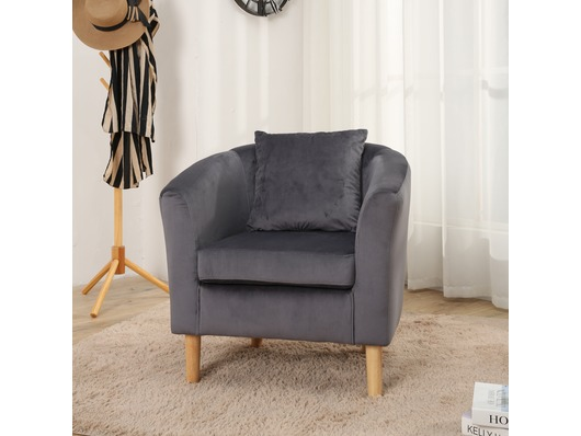 Canterbury Velvet Fabric Tub Chair Armchair Dark Grey