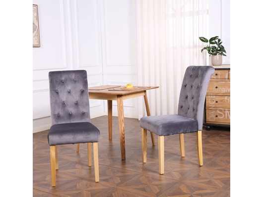 Set of 2 Canterbury Velvet Fabric Dining Chairs Scroll High Back Dark Grey