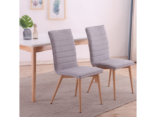 Set of 2 Oslo Fabric Linen Dining Chairs Light Grey
