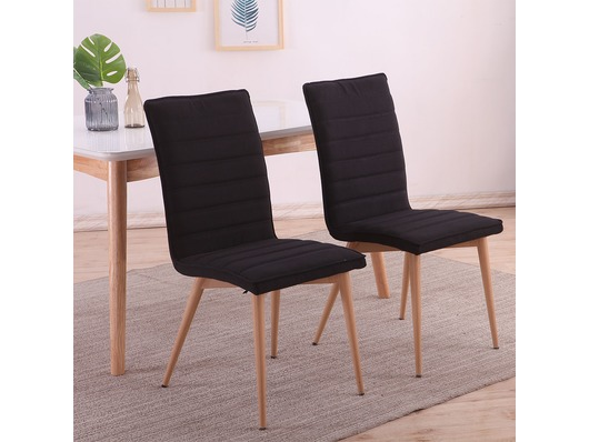 Set of 2 Oslo Fabric Linen Dining Chairs Black