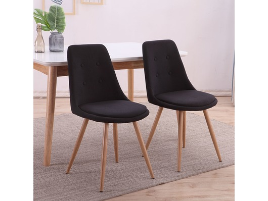 Set of 2 Stockholm Fabric Linen Dining Chairs Black