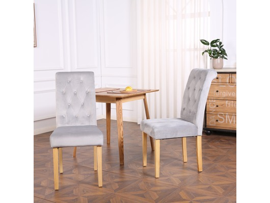 Set of 2 Canterbury Velvet Fabric Dining Chairs Scroll High Back Light Grey
