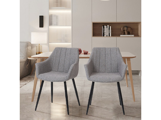 Toronto Fabric Dining Chairs Lt Grey, Grey Fabric Dining Chairs With Arms