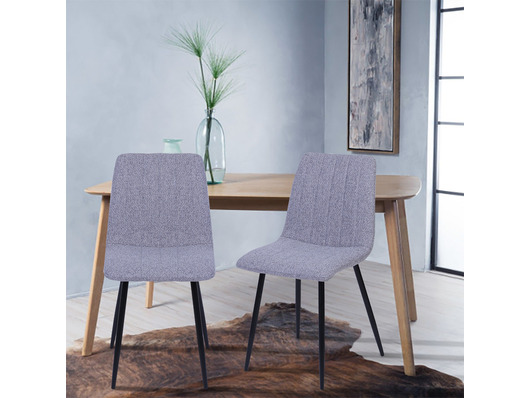 Set of 2 Dublin Fabric Dining Chairs Light Grey