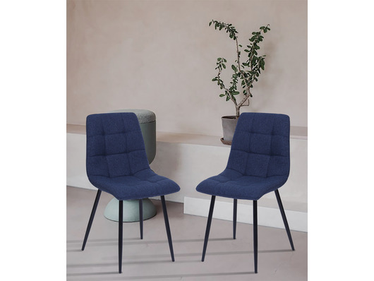 Set of 2 Vienna Fabric Dining Chairs Blue