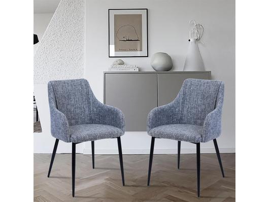 Set of 2 Berlin Fabric Dining Chairs Dark Grey
