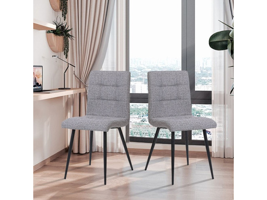 Set of 2 Florence Fabric Dining Chairs Light Grey