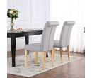 Set of 2 Kensington Fabric Dining Chairs Scroll High Back Light Grey