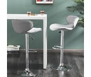 Set Of 2 Shoreditch Fabric Bar Stools Height Adjustable Light Grey