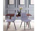 Set of 2 Vienna Fabric Dining Chairs Light Grey