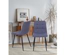 Set of 2 Vienna Fabric Dining Chairs Dark Grey