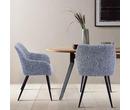 Set of 2 Havana Fabric Dining Chairs Dark Grey