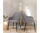 Set of 2 Berlin Fabric Dining Chairs Light Grey