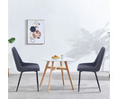 Set of 2 Milan Vintage Leather Dining Chairs Dark Grey